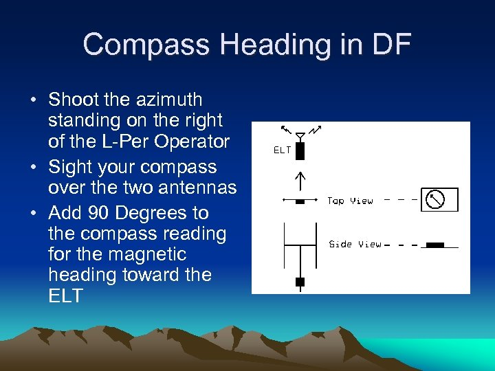 Compass Heading in DF • Shoot the azimuth standing on the right of the