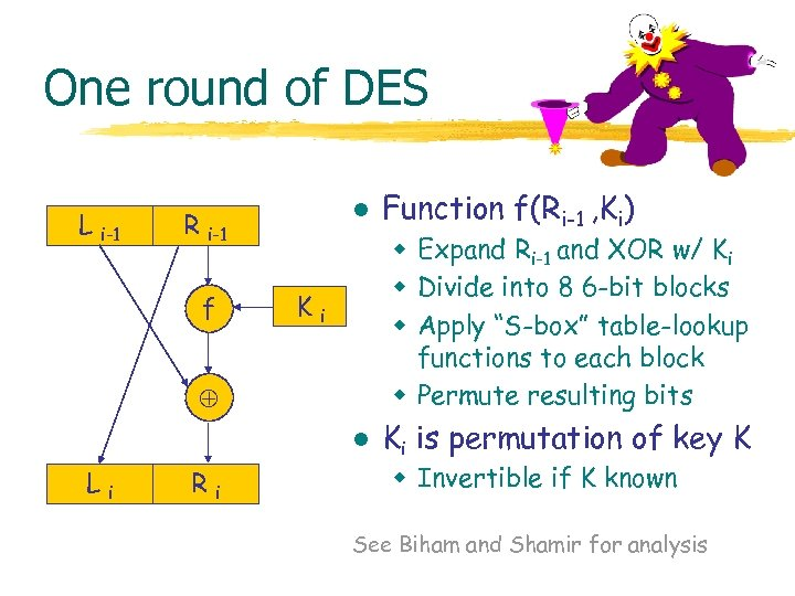 One round of DES L i-1 l R i-1 f w Expand Ri-1 and