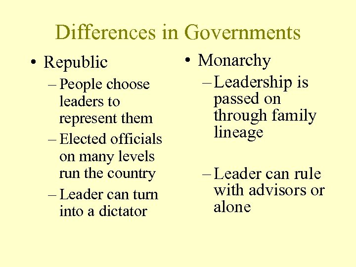 Differences in Governments • Republic – People choose leaders to represent them – Elected