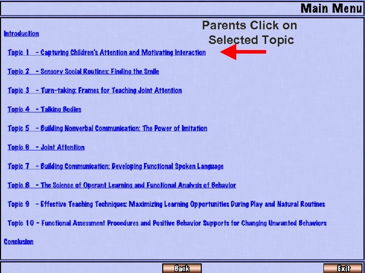 Parents Click on Selected Topic