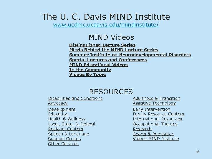 The U. C. Davis MIND Institute www. ucdmc. ucdavis. edu/mindinstitute/ MIND Videos Distinguished Lecture
