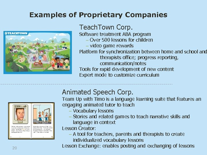 Examples of Proprietary Companies Teach. Town Corp. Software treatment ABA program – Over 500