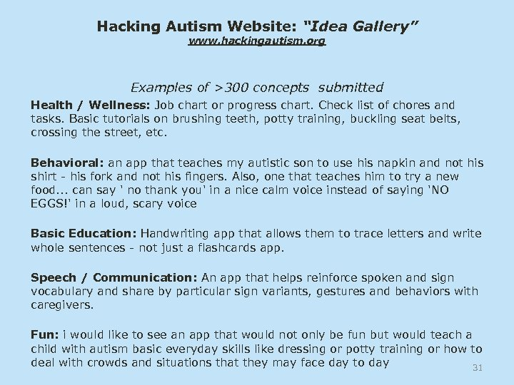 "Hacking Autism Website: ""Idea Gallery"" www. hackingautism. org Examples of >300 concepts submitted Health"