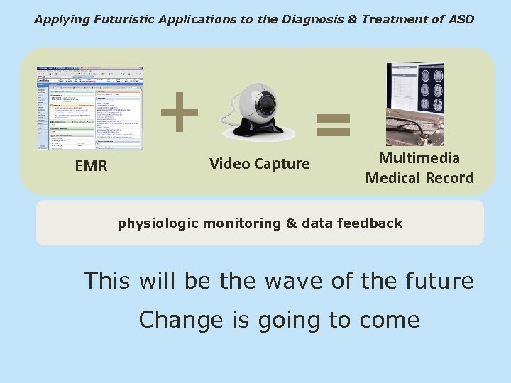Applying Futuristic Applications to the Diagnosis & Treatment of ASD EMR Video Capture Multimedia