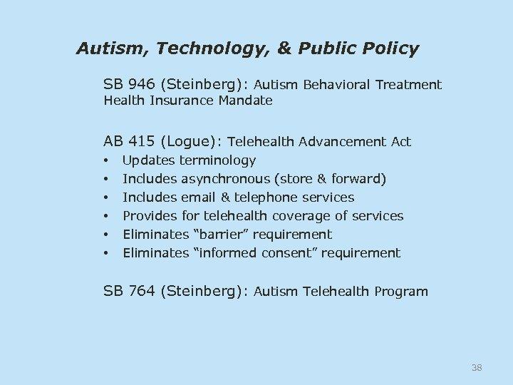 Autism, Technology, & Public Policy SB 946 (Steinberg): Autism Behavioral Treatment Health Insurance Mandate