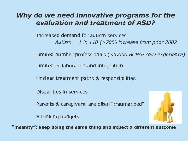 Why do we need innovative programs for the evaluation and treatment of ASD? Increased