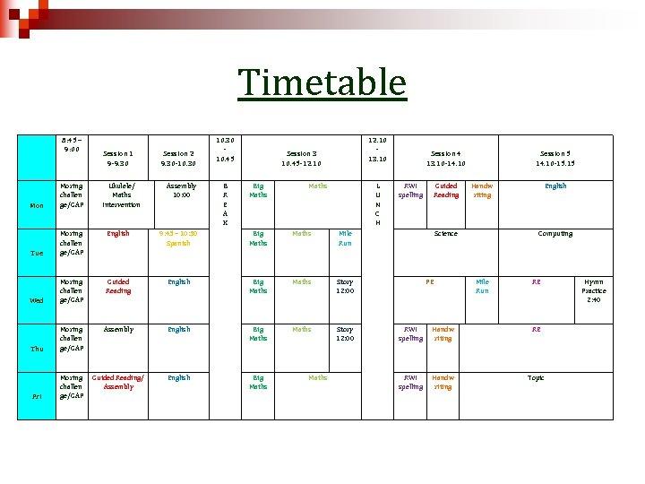 Timetable 8: 45 – 9: 00 Session 1 9 -9. 30 Mon Moring challen