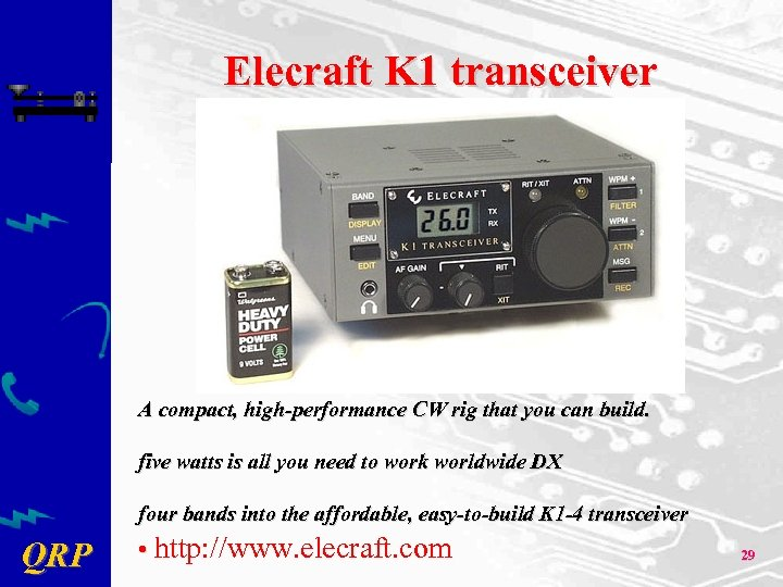 Elecraft K 1 transceiver A compact, high-performance CW rig that you can build. five