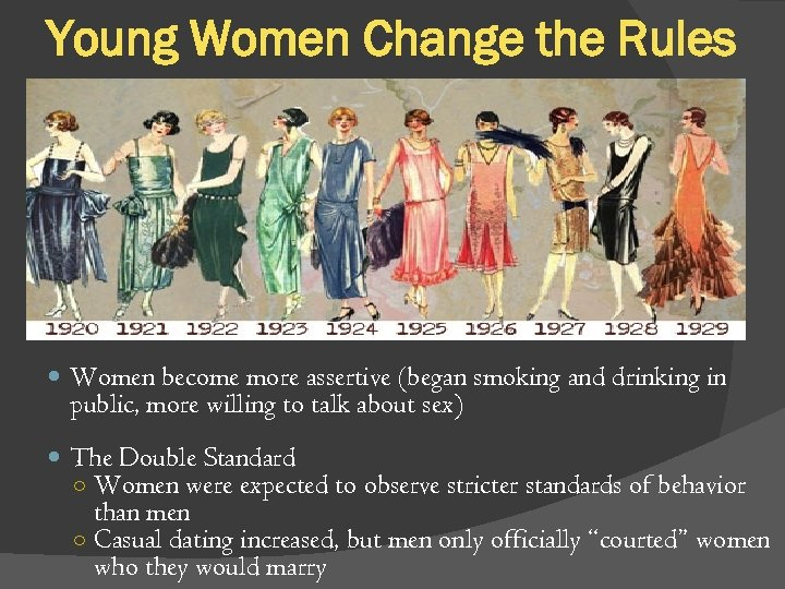 Young Women Change the Rules Women become more assertive (began smoking and drinking in