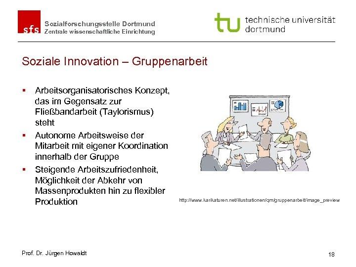 Sozialforschungsstelle Dortmund Zentrale wissenschaftliche Einrichtung Soziale Innovation – Gruppenarbeit § § § Arbeitsorganisatorisches Konzept,
