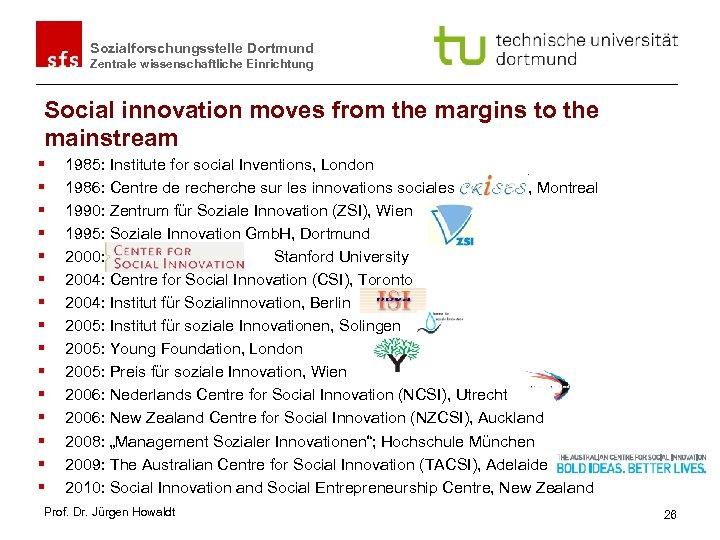 Sozialforschungsstelle Dortmund Zentrale wissenschaftliche Einrichtung Social innovation moves from the margins to the mainstream