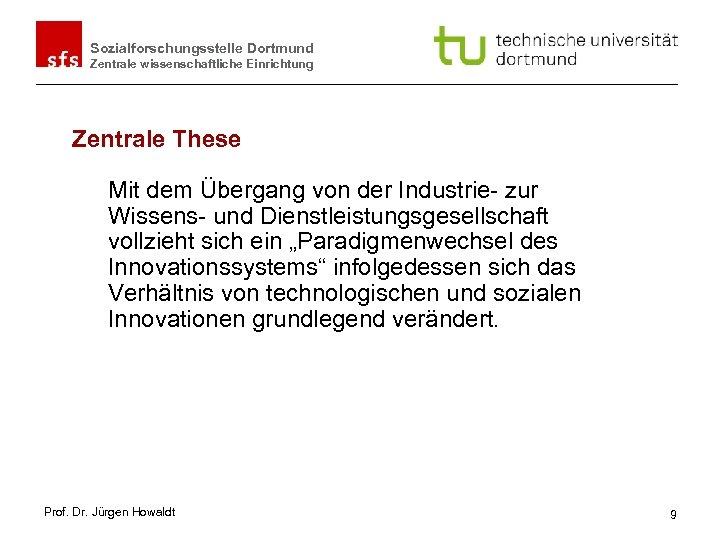 Sozialforschungsstelle Dortmund Zentrale wissenschaftliche Einrichtung Zentrale These Mit dem Übergang von der Industrie- zur
