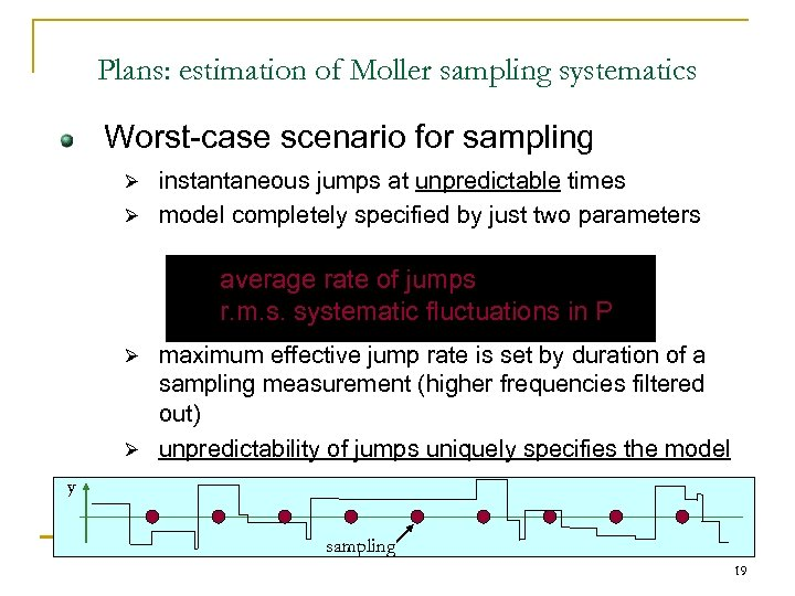Plans: estimation of Moller sampling systematics Worst-case scenario for sampling instantaneous jumps at unpredictable