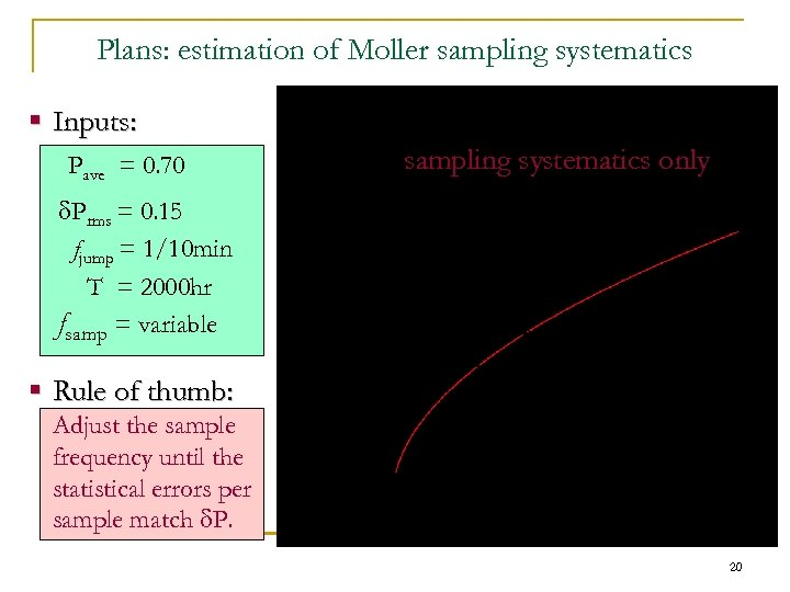 Plans: estimation of Moller sampling systematics § Inputs: Pave = 0. 70 d. Prms