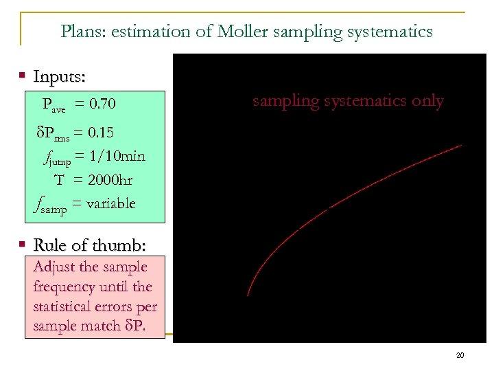 Plans: estimation of Moller sampling systematics § Inputs: Pave = 0. 70 d. Prms