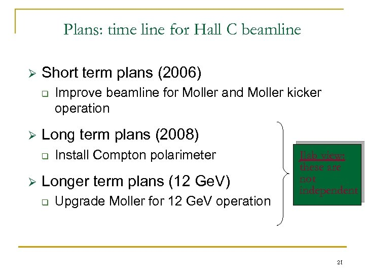 Plans: time line for Hall C beamline Ø Short term plans (2006) q Ø