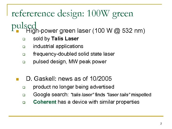refererence design: 100 W green pulsed n High-power green laser (100 W @ 532