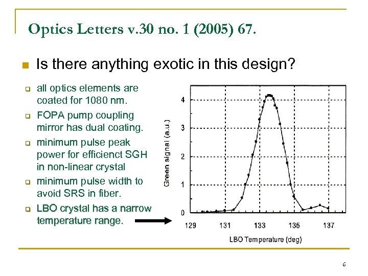 Optics Letters v. 30 no. 1 (2005) 67. n q q q Is there