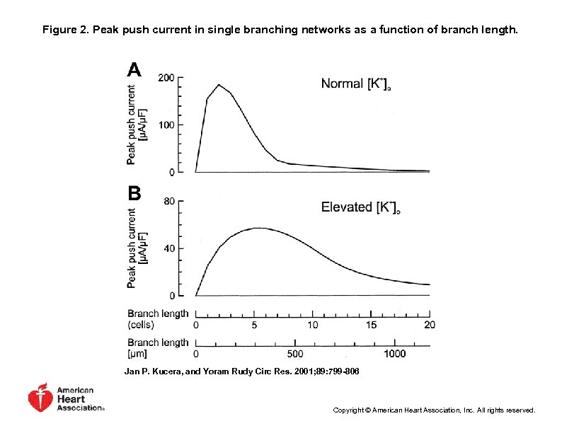 Figure 2. Peak push current in single branching networks as a function of branch
