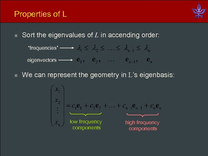 "Properties of L n Sort the eigenvalues of L in accending order: ""frequencies"" eigenvectors"