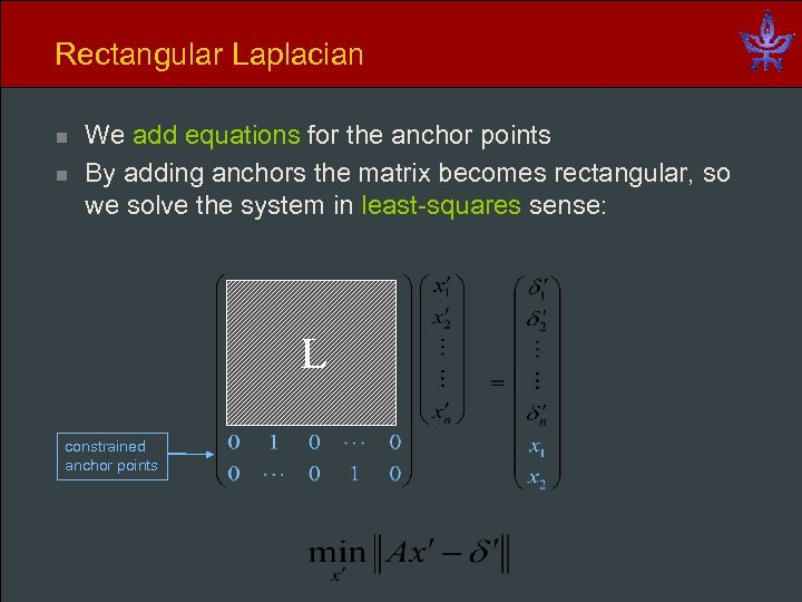 Rectangular Laplacian n n We add equations for the anchor points By adding anchors