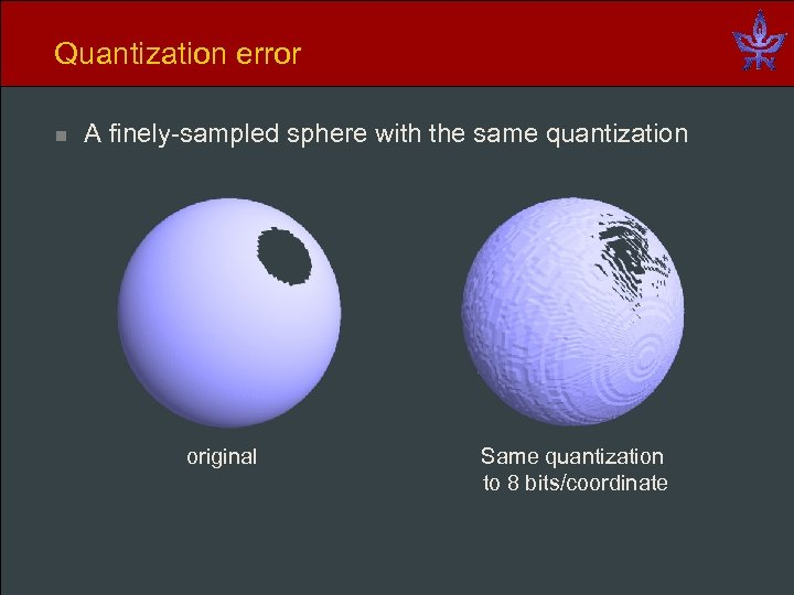 Quantization error n A finely-sampled sphere with the same quantization original Same quantization to