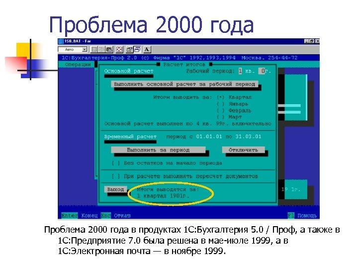 Проблема 2000 года в продуктах 1 С: Бухгалтерия 5. 0 / Проф, а также