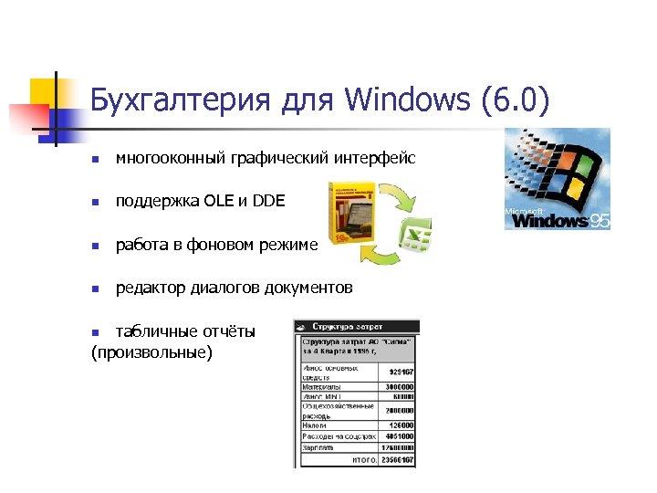 Бухгалтерия для Windows (6. 0) n многооконный графический интерфейс n поддержка OLE и DDE