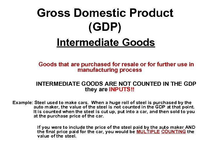 Gross Domestic Product (GDP) Intermediate Goods that are purchased for resale or further use