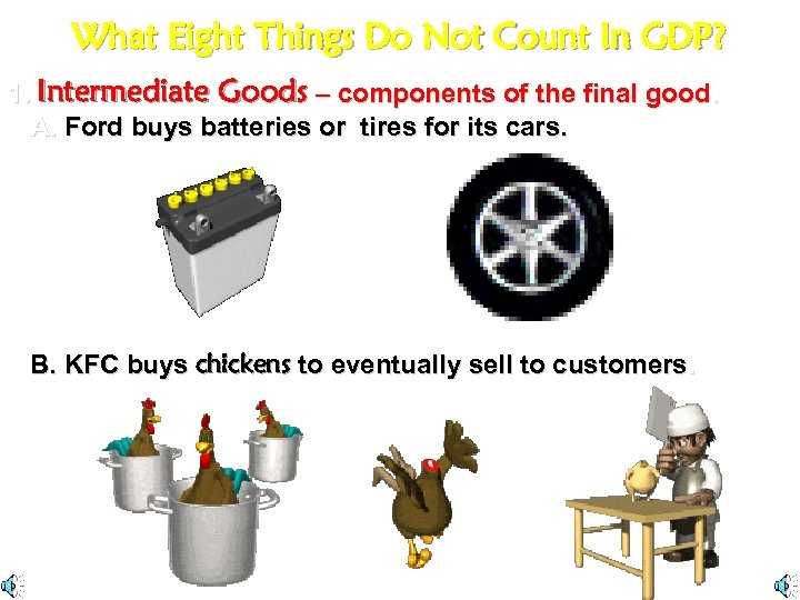 What Eight Things Do Not Count In GDP? 1. Intermediate Goods – components of