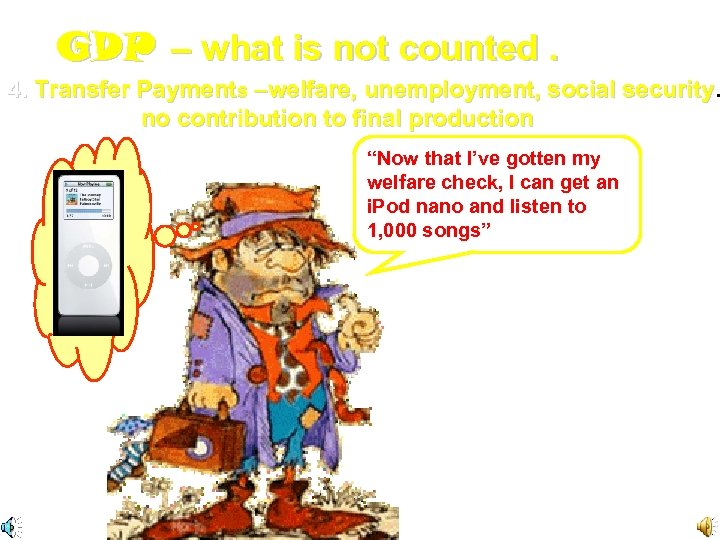 GDP – what is not counted. 4. Transfer Payments –welfare, unemployment, social security [There