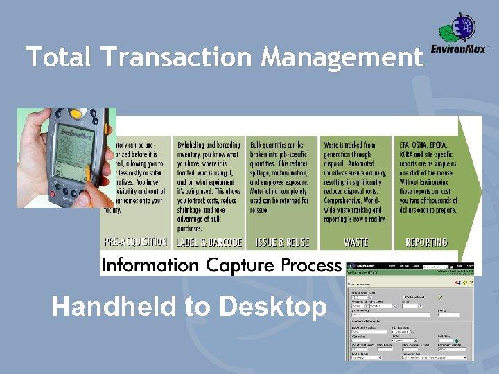 Total Transaction Management Handheld to Desktop