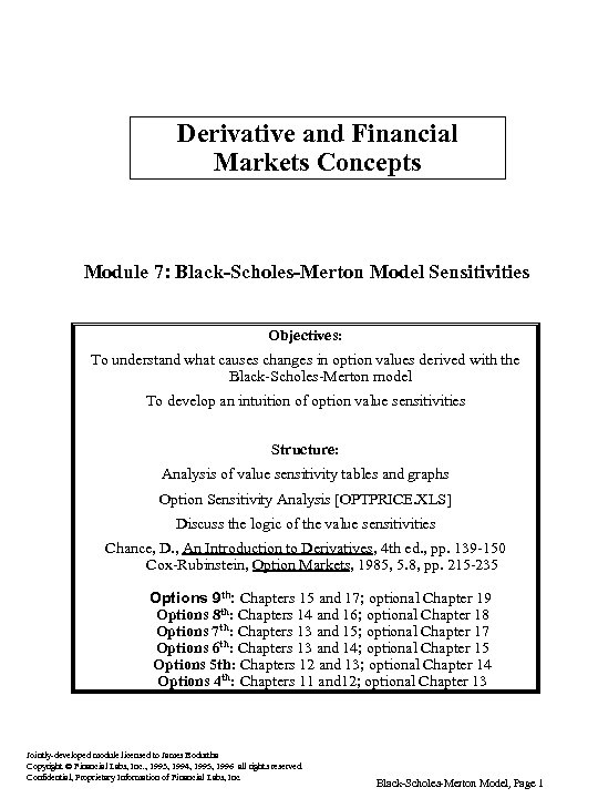 Derivative and Financial Markets Concepts Module 7: Black-Scholes-Merton Model Sensitivities Objectives: To understand what
