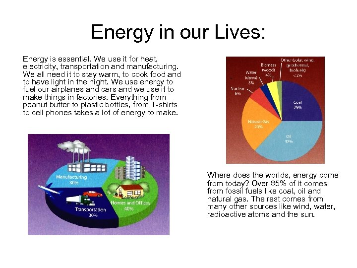 Energy in our Lives: Energy is essential. We use it for heat, electricity, transportation