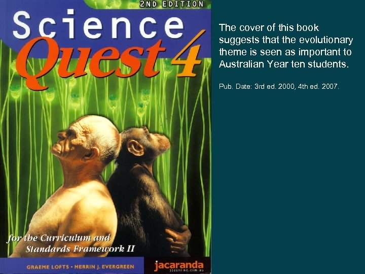 The cover of this book suggests that the evolutionary theme is seen as important