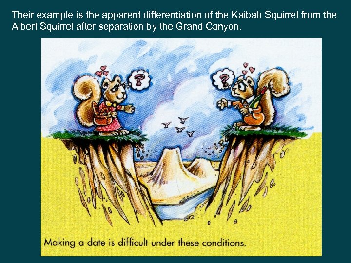 Their example is the apparent differentiation of the Kaibab Squirrel from the Albert Squirrel