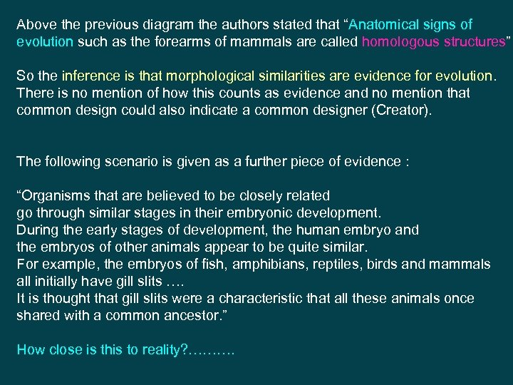 """Above the previous diagram the authors stated that """"Anatomical signs of evolution such as"""