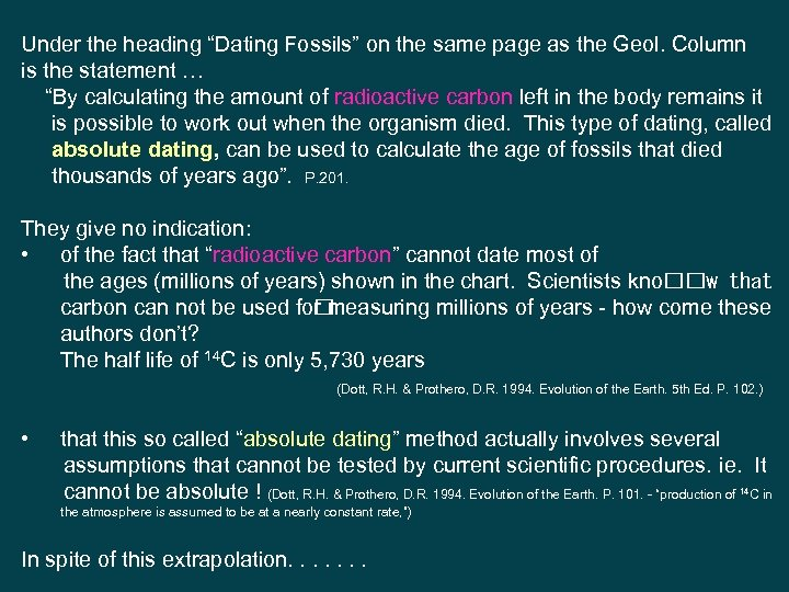 """Under the heading """"Dating Fossils"""" on the same page as the Geol. Column is"""