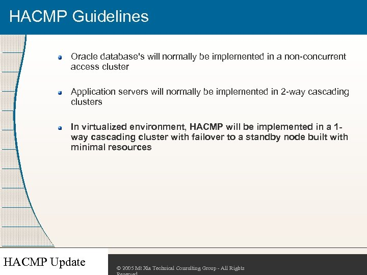 HACMP Guidelines Oracle database's will normally be implemented in a non-concurrent access cluster Application