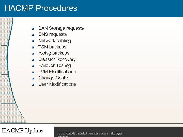 HACMP Procedures SAN Storage requests DNS requests Network cabling TSM backups rootvg backups Disaster