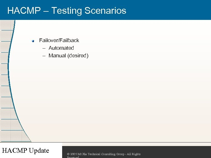 HACMP – Testing Scenarios Failover/Failback – Automated – Manual (desired) HACMP Update © 2005