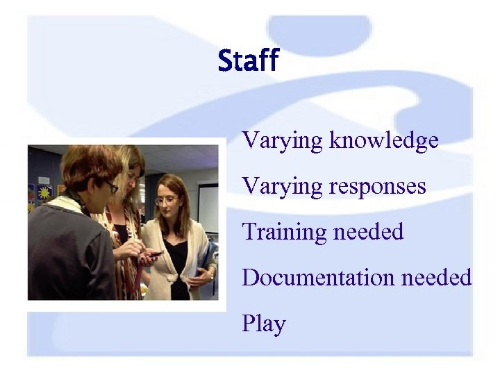 Staff Varying knowledge Varying responses Training needed Documentation needed Play