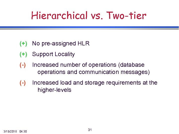 Hierarchical vs. Two-tier (+) No pre-assigned HLR (+) Support Locality (-) Increased number of