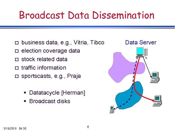 Broadcast Data Dissemination o o o business data, e. g. , Vitria, Tibco election
