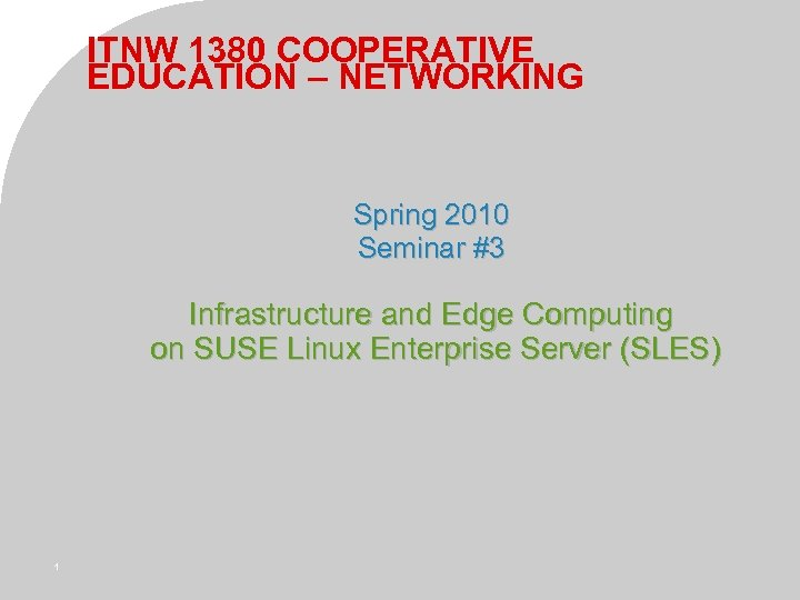 ITNW 1380 COOPERATIVE EDUCATION – NETWORKING Spring 2010 Seminar #3 Infrastructure and Edge Computing