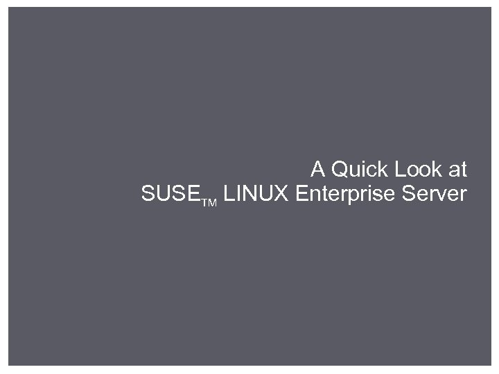 A Quick Look at SUSETM LINUX Enterprise Server