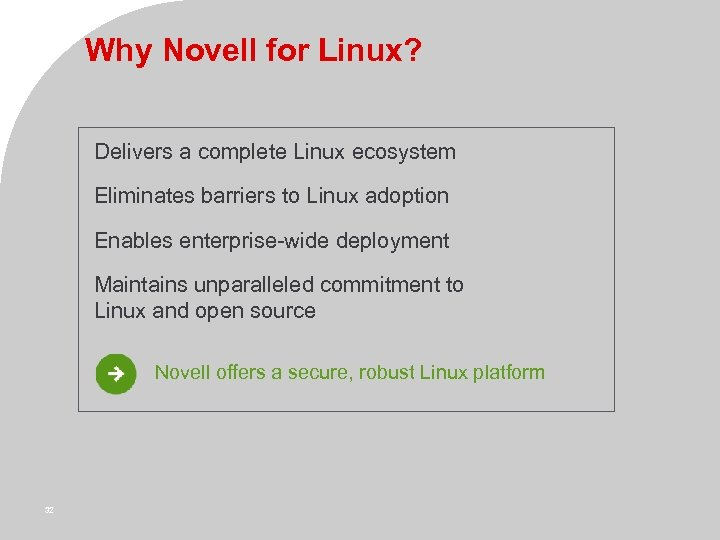 Why Novell for Linux? Delivers a complete Linux ecosystem Eliminates barriers to Linux adoption