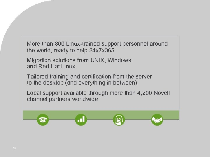 More than 800 Linux-trained support personnel around the world, ready to help 24 x