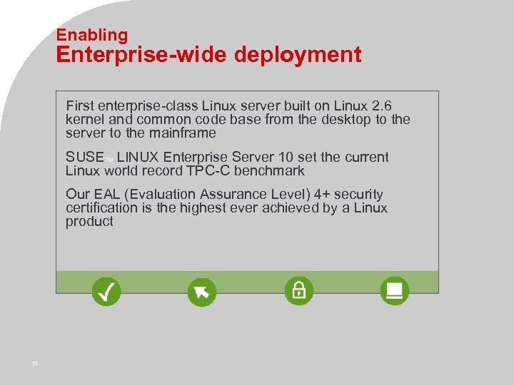 Enabling Enterprise-wide deployment First enterprise-class Linux server built on Linux 2. 6 kernel and