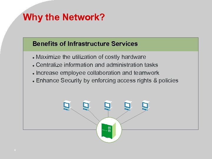 Why the Network? Benefits of Infrastructure Services 8 Maximize the utilization of costly hardware